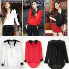 2015 Hot Fashion Womens Loose Chiffon V Neck Long Sleeve Top Blouse Tee Shirt