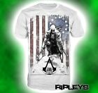 Official T Shirt ASSASSINS CREED III 3 White Burned Flag All Sizes
