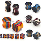 """2pc Colorful Stripe Wood Saddle 2G-5/8"""" Ear Tunnels Plugs Expander Body Piercing"""