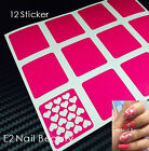 12 x Heart Finger Nail Stencil Guide Vinyl Decal Sticker FREE SHIPPING