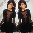 Womens Black Sexy Mesh Floral Lace Tutu Skater Party Evening Gown Prom Tea Dress