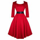 Hearts & Roses London Sleeve Red Dot Vintage 50s Flared Party Dress