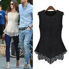 Sleeveless Casual vest Celebrity Womens Peplum Lace Crochet Top UK sz 6-18