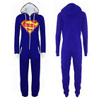 New Womens Mens Adult Unisex  All In One Piece Hoodie Batman Superman Jumpsuit