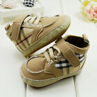 Baby Boy Girl pu stitching Plaid Crib Shoes Sports shoes Size 0 -18 Months /V