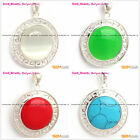 Beauty Carved Silver Pendant with White Red 23mm Coin Beads+Free Gift Box/Chain