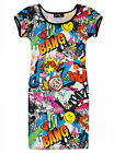 Girls Comic Print Dress Kids Bodycon Party Dresses Age 7 8 9 10 11 12 13 Years