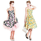 Collectif Fairy Vintage 1950s Floral Print Flared Party Prom Summer Sun Dress