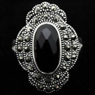 Fashion Black Agate Marcasite Flower 925 Sterling Silver Ring Size 7/8/9/10