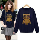Womens Ladies Casual Jacket Long Sleeve Hoodie Coat Tops Owl Ptinted Sweatshirt