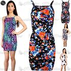 Womens Ladies Floral High Square Neck Strappy Camisole Fitted Bodycon Midi Dress