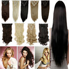 Real Thick Straight Wavy Full 8Piece 18 Clips in Hair Extensions 150g 20Colors m