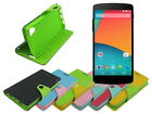 Leather Wallet Case Stand with Inner TPU Soft for LG Nexus 5