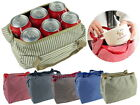 Striped Water Resistant Insulated Tote Bag for Lunch Box Baby Bottles Fit 6 Pack