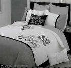 5 Pce - VIENNA White Grey Quilt Duvet Cover + 2 P/cases + 2 Cushions QUEEN KING
