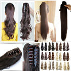 AU Long Thick Women Lady Wrap Claw On Clip In Ponytail Hair Extensions Piece 2T1