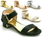 LADIES WOMENS FLAT SANDALS LOW HEEL EVENING ANKLE STRAP MID HEELS PARTY SIZE