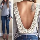 New Womens Sexy Backless Long Sleeve Shirt Casual Blouse Tops Shirt Clothing