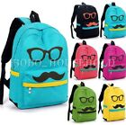 Canvas Stylish Boys Girls Mustache Travel School Shoulders Bag Backpack Rucksack