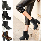 Ladies Womens High Block Heel Chunky Cleated Sole Chelsea Ankle Boots Shoes Size