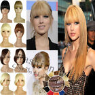 UK girl Clip On Clip In Front Hair Bang Fringe Hair Extension Straight one piece
