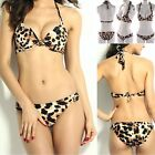 Sexy Women Leopard Bikini Set Padded Bra Tops Strappy Swimsuit Bathing Swimwear