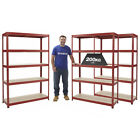 3 Shelving Bays Garage Storage Racking Warehouse Shelf Red 200kg UDL BiGDUG