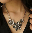 NEW WOMEN FLOWER CRYSTAL SILVER JEWELRY CHUNKY PENDANT STATEMENT BIB NECKLACE