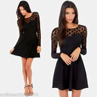Chic Women Mesh Stitching Polka Dot Long Sleeve Clubwear Party Skater Mini Dress