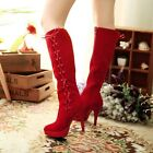 Womens High Heel side zip Strappy Ladies Faux Suede Riding Knee High Boots
