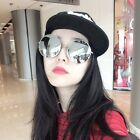 Retro Oversized Round Sunglasses Women Mirrored Lens Metal Frame Eyewear Glasses