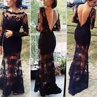 Elegant Lady Celeb Lace Crochet Backless Evening Cocktail Long Prom Party Dress