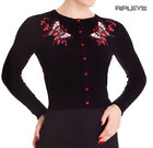 HELL BUNNY Ladies Rockabilly SCARLETT Cardigan Top Black Butterfly All Sizes