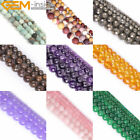 """Frost / Crackle / Spong / Faceted Round Beads Gemstone Strand 15"""" Size Pick"""