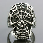 Modern Wicked Stainless Steel Gothic Biker Spider man Skull Ring Jewelry