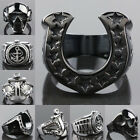 Exquisite Stainless Steel Horseshoe Skull Head Sailing Anchor Superman Rings