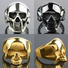 Womens Mens Stainless Steel Silver/Gold/Black Skull Head Biker Finger Ring Rings