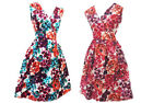 New Ladies Pink / Purple Floral Cotton Holiday Summer Beach Dress