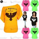 Womens Ladies LA Eagle Batwing Print Off The Shoulder Bardot Oversized Baggy Top