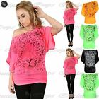 Women Ladies Tiger Face Batwing Print Off The Shoulder Bardot Oversize Baggy Top
