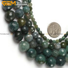 "Natural Gemstone Genuine Green Moss Agate Beads For Jewelry Making 15"" Faceted"