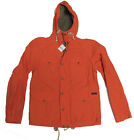 Polo Ralph Lauren Mens Orange Zip Button Hooded Lined Leather Jacket Coat Size S