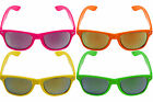 Mirror Lens Neon Sunglasses Shades Hawaiian BBQ Summer Beach 80s 90s Fancy Dress