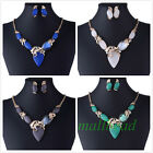 Retro Charm Resin Gem Choker Chunky Pendant Statement bib Necklace Jewelry Gift