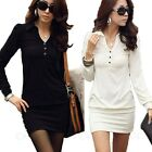 Top Womens Casual Office Long Sleeve Shirt Mini Trendy Wiggle Dress UK sz 6-14