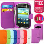 Flip Wallet Leather Case Cover For Samsung Galaxy Fame S6810 + Screen Protector