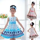 Baby Kids Girls Dress Princess Party Bow Belt Bubble Peacock Dress Clothes 1-6Y