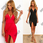 Womens Party Evening Summer Sexy Bodycon Short Black Strappy Low V Mesh Dress