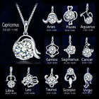 1 Piece Fashion 925 Sterling Silver  Zodiac Sign Crystal Pendant Jewelry A1187