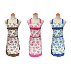 Flowers Floral Bowknot Women Lady Home Kitchen with Pocket Cooking Apron Bib